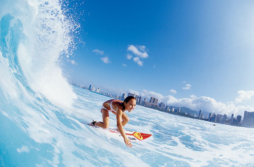 beach, city, girl, surf, water, wave