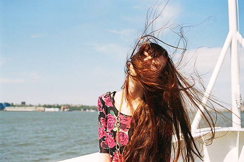 beach, cute, girl, gringer, hair, ocean, red hair, sea, sky, vintage