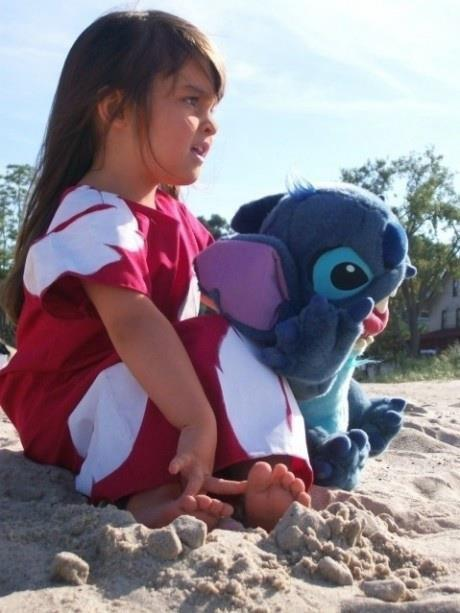 beach, cute, girl, kids, lilo&stitch