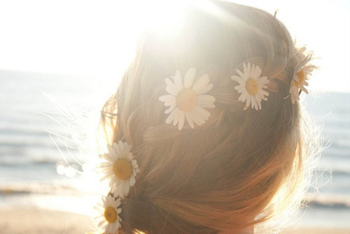 beach, daisies, flowers, hair, hipster