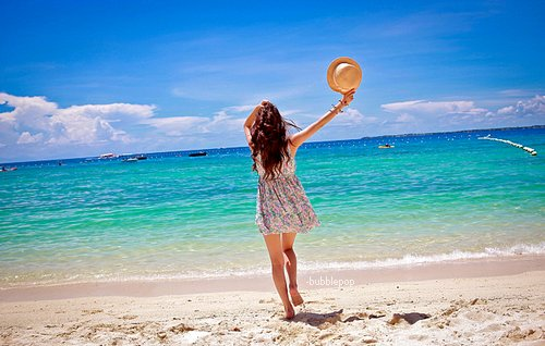 beach, dress, fashion, free, girl, hat, sea