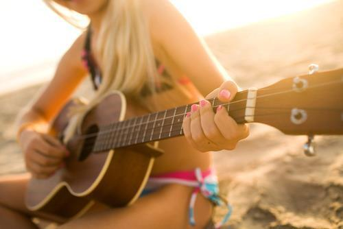 beach, enjoy, girl, guitar, guitar beach