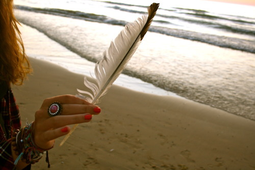 beach, feather, girl, lake, nail art