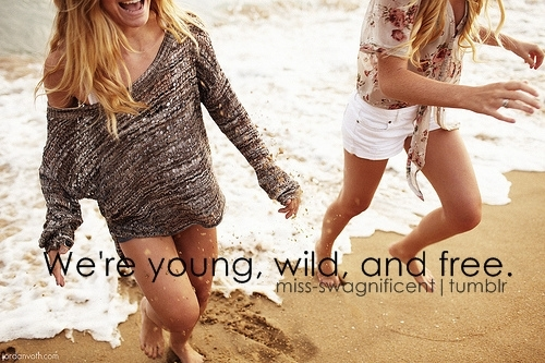 beach, free, fun, girls, having fun, text, typo, typography, wild, young, young wild and free