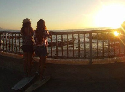 beach, friends, girls , longboard, summer