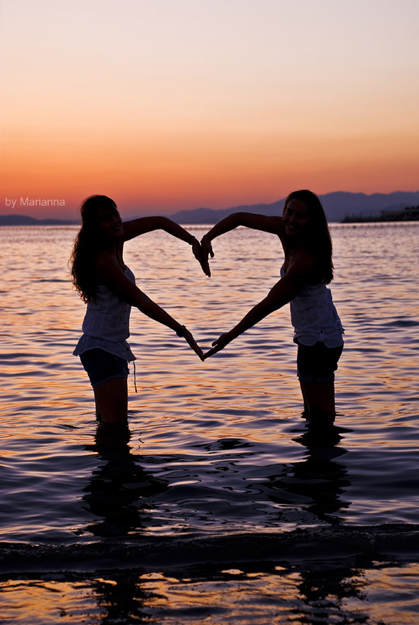 beach, friends, hands, heart, love, summer, sunset