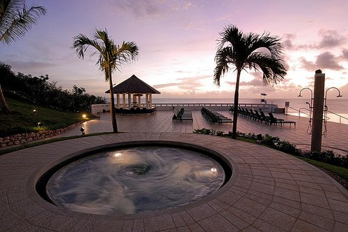 beach, hot tub, jacuzzi, palm trees, paradise