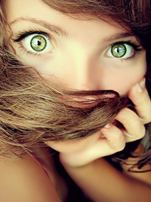 beautiful, big eyes, girl, green eyes