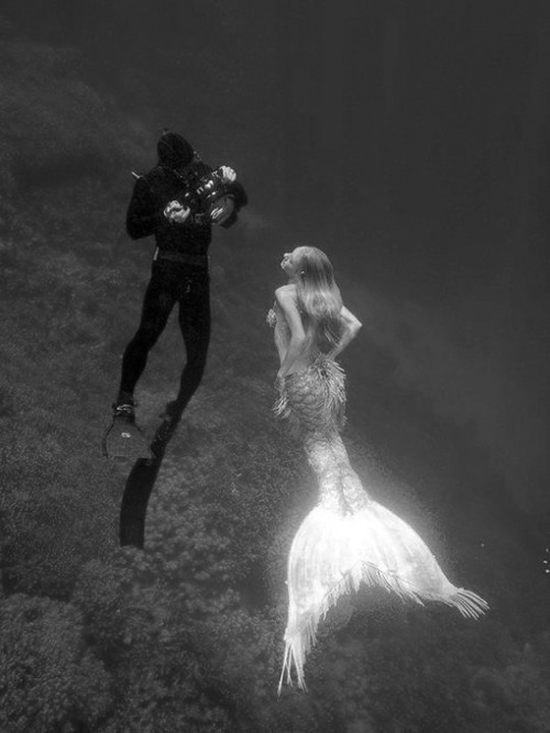 beautiful, black and white, camera, deep, diver, fin, gorgeous, love, man, mermaid, ocean, scuba diver, sea, under water, woman