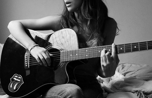 beautiful, black and white, girl, guitar, music