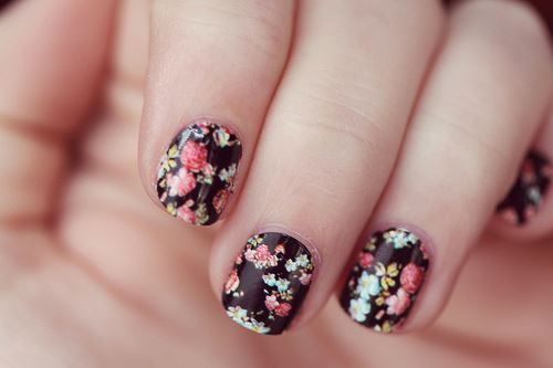 beautiful, black, cute, flowers, nail