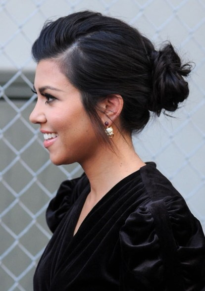 beautiful, black hair, bun, earrings, girl