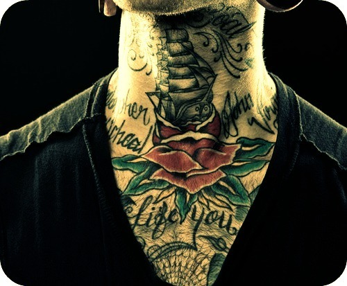 beautiful, black plugs, boat, body mods, boy, ears, guy, guy with tattoo, hot, life, man, neck, neck tattoos, photo, photography, plugs, rose, sea, sexy, ship, stretched ears, tattoo, tattoos, text, typography, v neck, v-neck