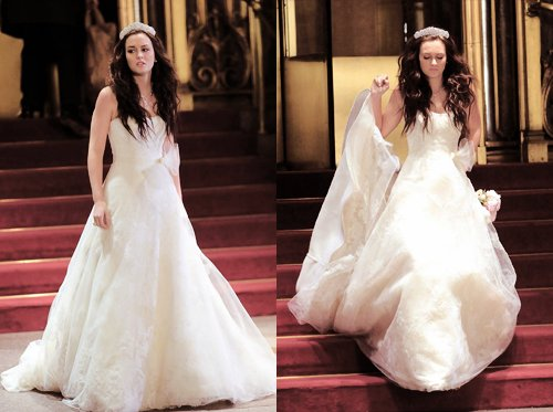 beautiful, blair, blair waldorf, dress, gossip girl, leighton meester, run, season 5, vera wang, wedding, white dress