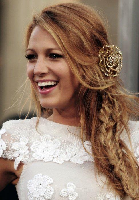 beautiful, blake lively, blonde, braid, fashion, flower, girl, gossip girl, hair, serena van der woodsen