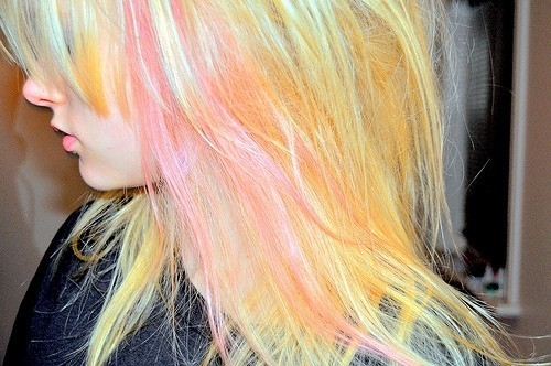beautiful, blond, blue, colorful, colors, cute, girl, hair, lovely, pink, pink hair, pretty