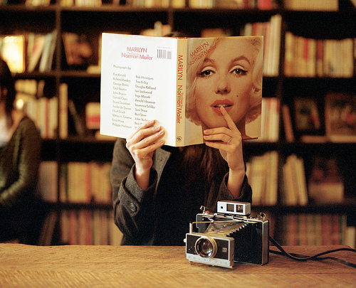 beautiful, blonde, book, books, camera, clothes, eyes, fashion, girl, jacket, kiss, library, lips, marilyn monroe