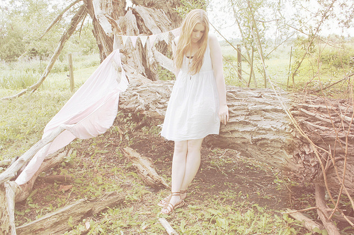 beautiful, blonde, camp, dress, fashion, flags, girl, hair, light, lovelly, nature, spring autumn, summer, sun, sweet, tree, vintage, wood