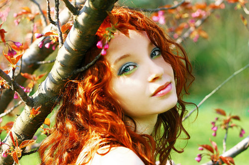 beautiful, blue, colorful, colors, curly, cute, eyes, fairy, fall, fashion, flowers, ginger, girl, green, hair, leaves, lips, lovely, make up, pink, red, redhead, spring, sunlight, sunny