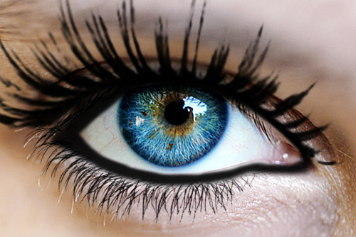 beautiful, blue, eye, make up, mascara