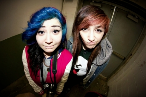beautiful, blue hair, camera, f4lconpunch, friend