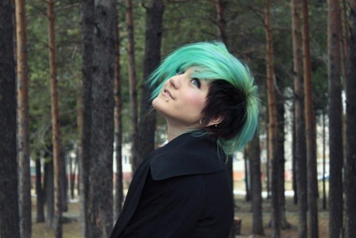 beautiful, blue, hair, pretty, side, turquoise, under cut, undercut