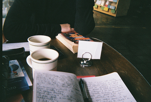 beautiful, book, boy, cafe, coffee, cute, girl, grain, hipster, indie, journal, nostalgia, nostalgic, notebook, photography