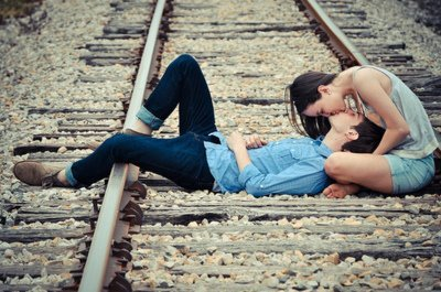 beautiful, boy, couple, cute, girl, kiss, nice, train