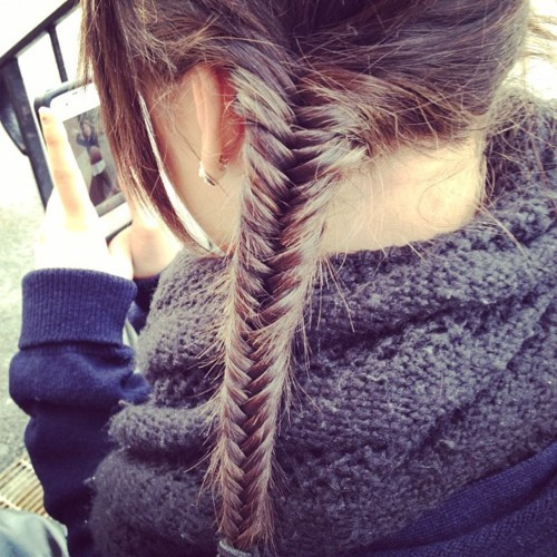beautiful, braid, brown, brunette, cool, fishbone, fishbraid, fishtailbraid, girl, hair, hairstyle, iphone, summer