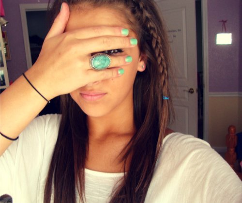 beautiful, braid, cute, eye, eyeliner, girl, hair, nails, ring, swag, turquoise