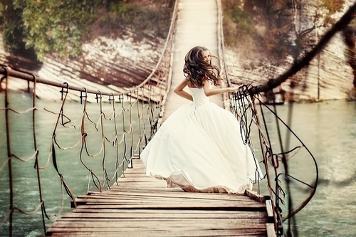 beautiful, bridge, dress, girl, happy