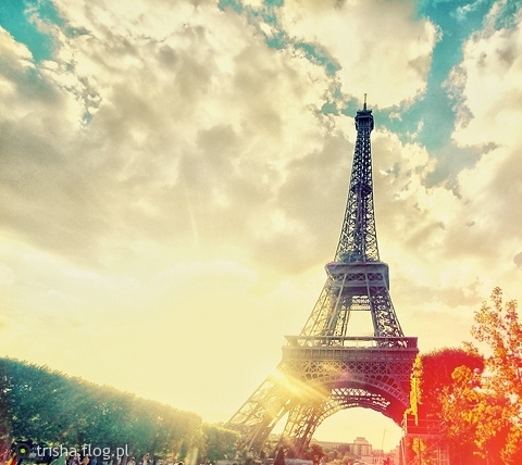 beautiful, bright, city, clouds, colors, eiffel tower, light, lights, lovely, paris, photography, sky, summer, sun, sunrise, trees