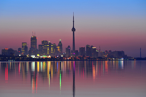 beautiful, buildings, canada, city, city life, cn tower, evening, lake, night, ontario, reflection, scenery, skydome, toronto, tower, water