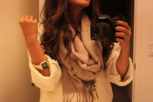 beautiful, camera, canon, classy, fashion, girl, hair, photography, pretty, scarf, style, sweater, watch