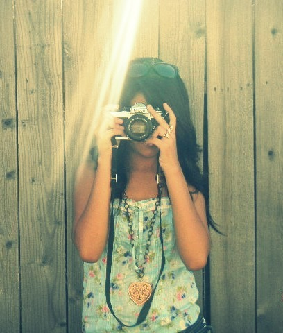 beautiful, camera, fence, girl, nature