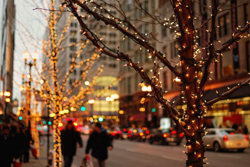 beautiful, christmas, city, lights