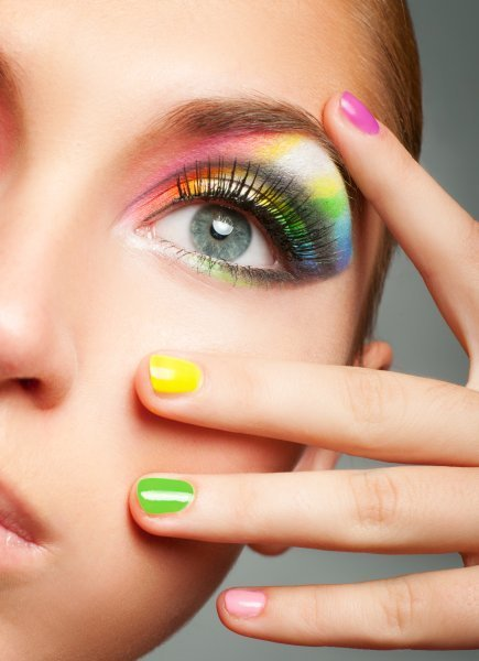 beautiful, color, eyes, face, girl, make-up, nails