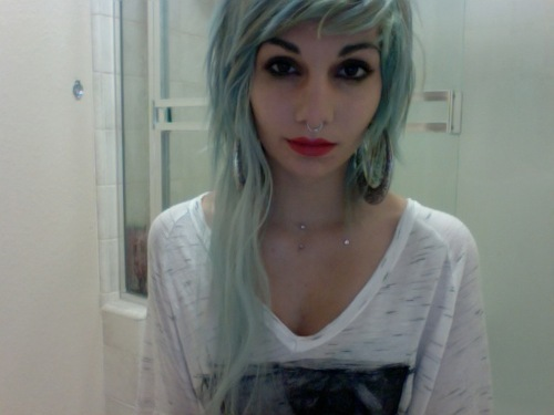 beautiful, cute, girl, green, green hair, hair, photo, photograph, photography, piercing, piercings, pretty, septum