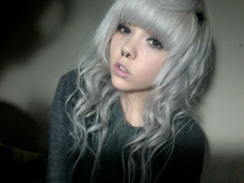 beautiful, cute, girl, hair, photo, photograph, photography, piercing, piercings, pretty, septum, white, white hair