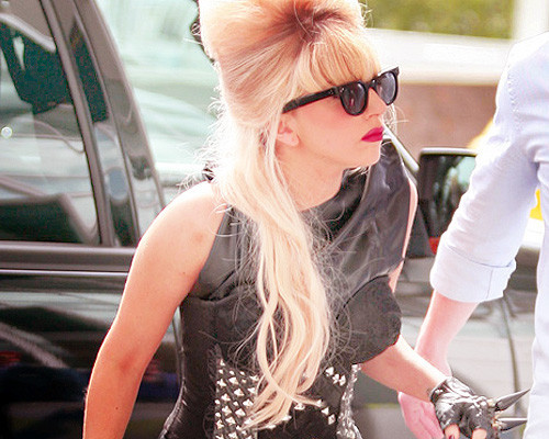 beautiful, cute, hair, lady gaga, pretty, red lips, sexy, style, sunglasses