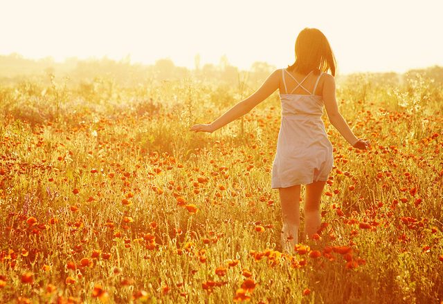 beautiful, dress, field, flowers, girl