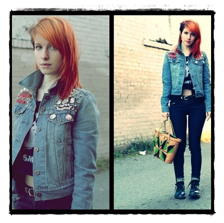 beautiful, eyes, hair, hairstyle, hayley williams, jacket, jean, paramore, redhead, rock, singer, t-shirt