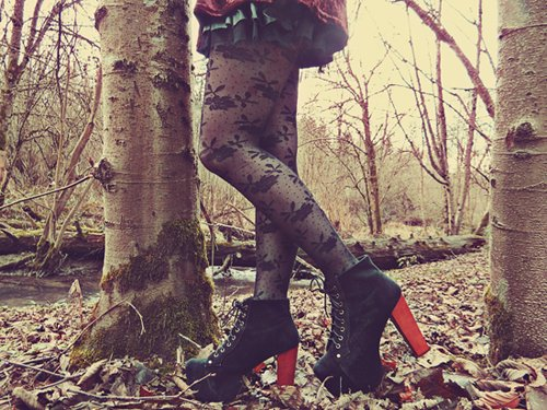 beautiful, fashion, forest, girl, jeffrey campbell