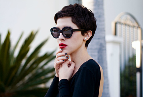 beautiful, fashion, girl, red lips, style, sunglassess