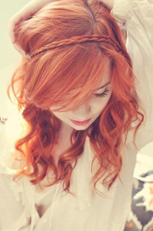 beautiful, girl, hair, red hair