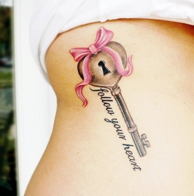 beautiful, girl, heart, key, sexy, tattoo