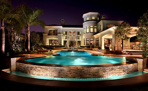 beautiful, house, lights, mansion, pool