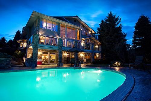 beautiful, house, lights, photography, pool, pretty