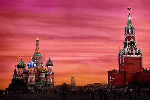 beautiful, moscow, russia, sunset