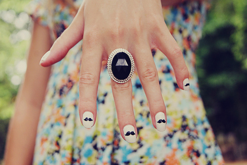 beautiful, moustache, nails, ring